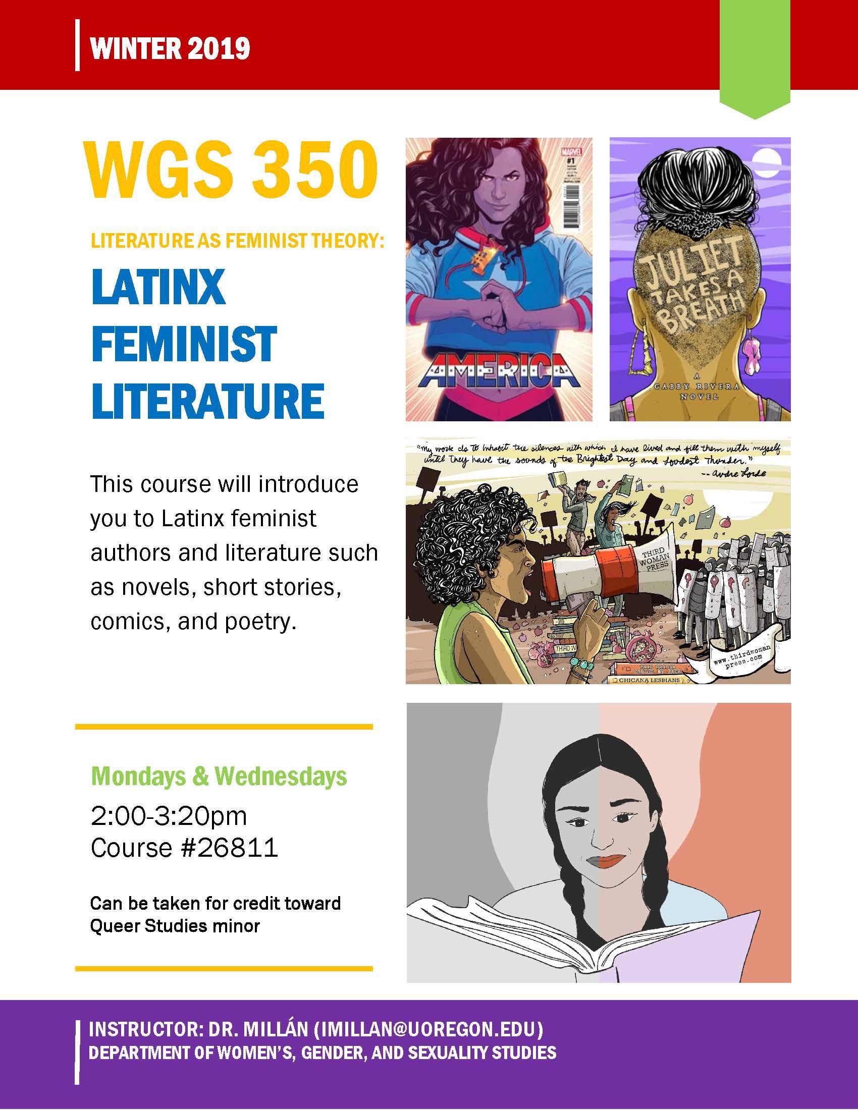 WGS 350 Latinx Feminist Literature Course Flier (Dr. Isabel Millan)
